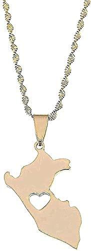banbeitaotao Collar de Acero Inoxidable Color Perú Mapa Collares Pendientes Mapa de Moda de Cadena de corazón Peruano Regalo de joyería