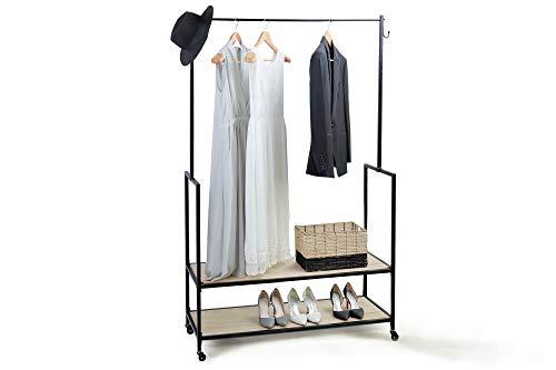 LIFA LIVING Kleiderständer auf Rollen, Kleiderstange Holz und Metall schwarz, 2 Ablagen, Schuhregal, Garderobenständer mit Feststellbremse für Schlafzimmer, 1.75 m