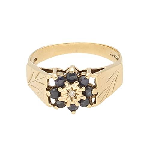 Anillo para mujer de oro amarillo de 9 quilates con zafiro y diamante (tamaño N 1/2) 8 x 9 mm | Anillo de lujo para mujer