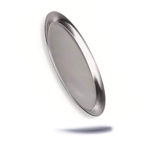 Kerafactum Oval Serviertablett Servierplatte Tablett aus Edelstahl 33,0 cm matt poliert mit gebördeltem Rand klein zum servieren Spülmaschinenfest - Service Tray