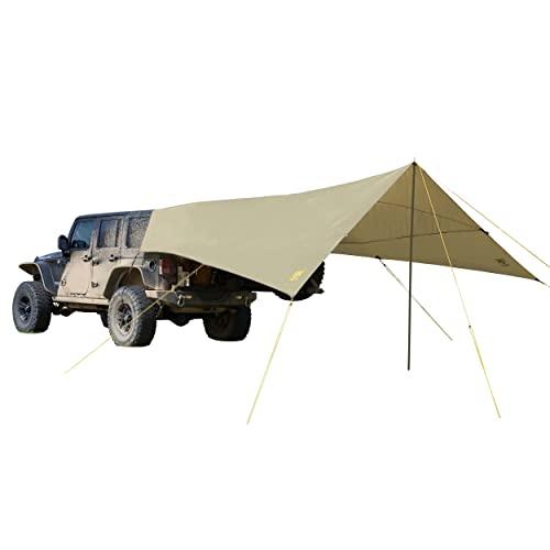 Slumberjack SJK Roadhouse Tarp, Hunting Camping & Overland Shelter Protects from Rain & Sun (Khaki)