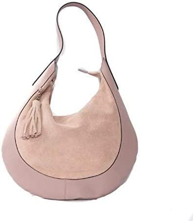 Italian Pink Salmon Suede and Leather Combination Shoulder Bag By Vittoria Pacini