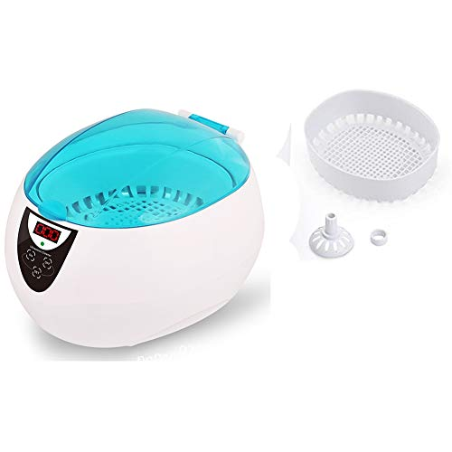 HYE Limpiador Joyas para el hogar,Limpiador ultrasónico automático 750 ml Impermeable y Salpicaduras de Salpicaduras Baño de ultrasonidos con Cesta de Limpieza Utilizado en joyería Relojes Gafas