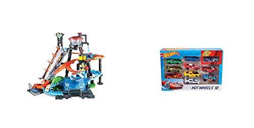 Hot Wheels - City Ultimative Autowaschanlage mit Krokodil, Waschstation Spielset mit Farbwechseleffekt & 1:64 Die-Cast Auto Geschenkset, je 10 Spielzeugautos, Spielzeug Autos ab 3 Jahren, 10er Pack