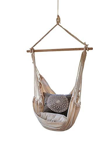 Hängesessel Sitzschaukel Korbschaukel | Weiß | Baumwolle | zum Aufhängen