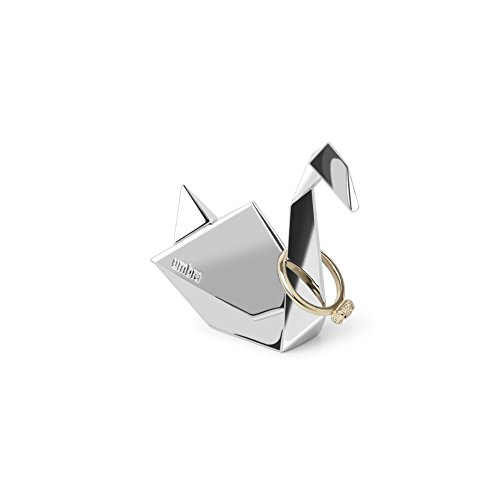 Umbra Origami Swan Ring Holder, Metal Ring Storage and Display for Jewelry, Chrome