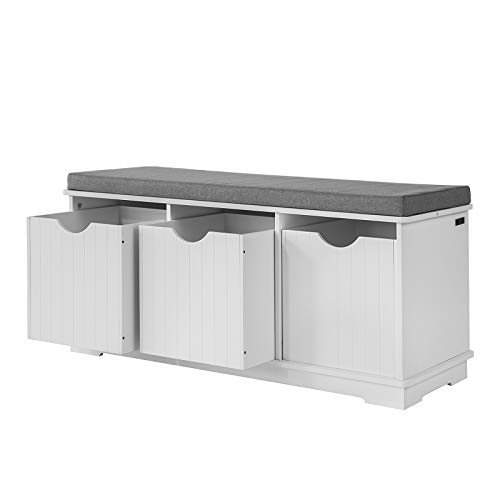 SoBuy FSR30-W, Storage Bench with 3 Drawers & Removable Seat Cushion, Storage Cabinet Unit