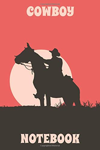 Cowboy Notebook - Horse - Sunset - Red - Light Orange - Brown - College Ruled