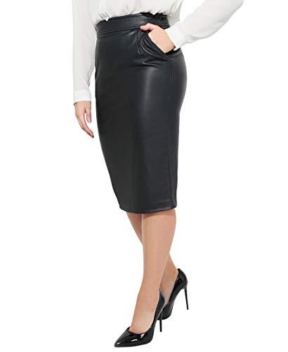 KRISP Falda ajustada de tacto cuero, color negro