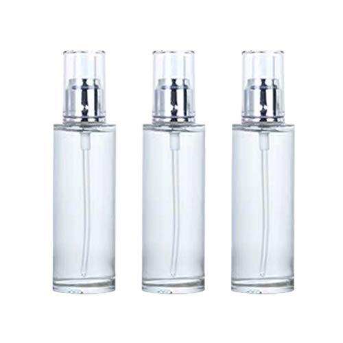 Hemoton 3 pcs Vide Pompe cosmétique Bouteille Bouteilles Bouteille d'huile Essentielle Bouteille Vide Bouteilles Portable Pompe Bouteille (Argent et Blanc 80 ML)