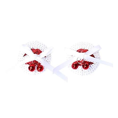 Sex Toys Witte Schalen Met Rode Klokken tepelcovers Borst Sticker Entertainment Clip ZHQHYQHHX (Size : White)