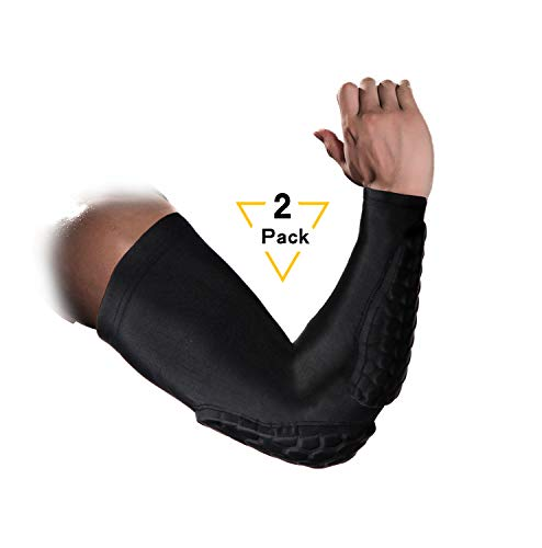 Guozi 2 Pcs Honeycomb Arm Elbow Pads Crashproof Arm Sleeves - Sports Compression Arm Sleeve with Elbow Pad for Basketball, Baseball, Football, Volleyball, Cycling (M)