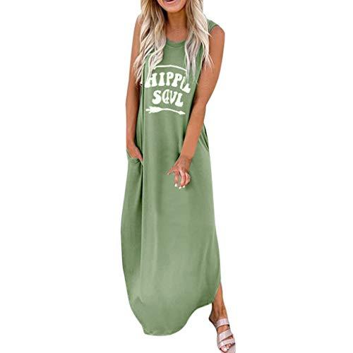 Maxi klänningar för kvinnor hippie själ bokstäver tryckta sidor delade fickor solkräm sommar ärmlös lång klänning ledig t-shirt klänning