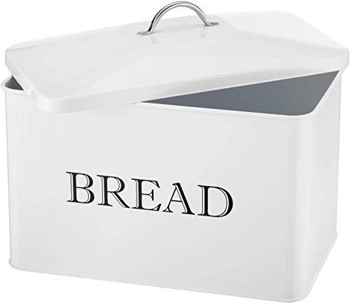 Panera retro grande de metal para almacenamiento en el hogar, con tapa, para panes, bagels chips, almacenamiento de alimentos secos, panera, pastelería, productos horneados, crema marfil