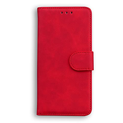Glqwe Telefonfodral, läderplånbok flip stativ bok för iPhone 12 mini Pro MAX 6 7 8 11 S Plus x s xr max (färg: Röd, material: För iPhone 12Pro Max)