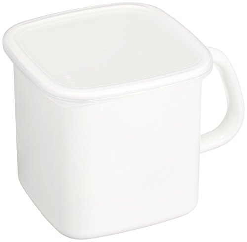 野田琺瑯 持ち手付きストッカー 角型 ホワイト 1.2L
