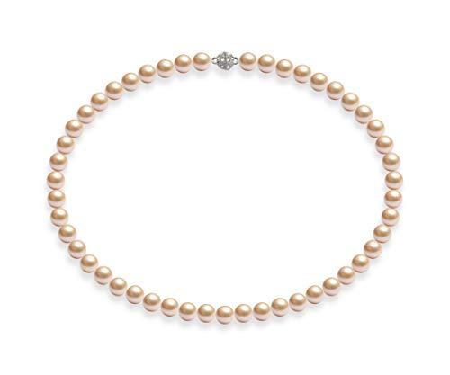 Schmuckwilli Damen Muschelkernperlen Perlenkette Rosa Magnetverschluß echte Muschel 45cm dmk0009-45 (8mm)