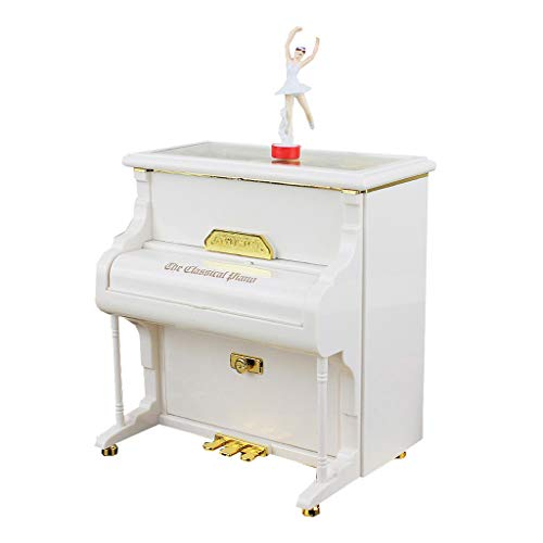 OMING Music Box Vintage Piano Music Box with Revolving Ballet Dancer, Valentine's Day New Year Gift, Desktop Decoration (White) Vintage Wooden Music Box