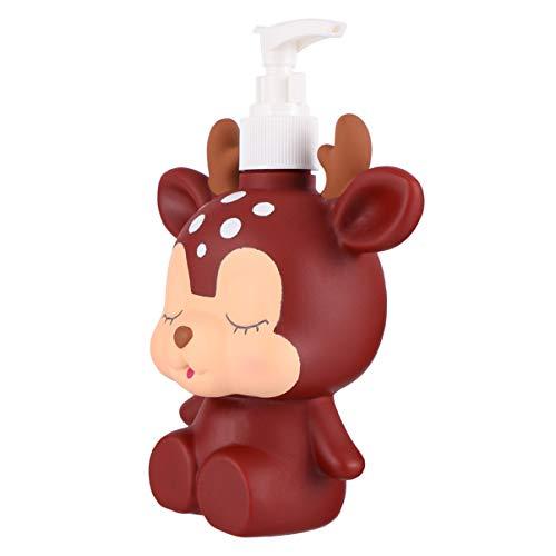 Cabilock Pumpflasche Kinder Pumpspender Cartoon Tier Reiseflasche Handgel Duschgel Shampoo Gelspender Nachfüllbare Flüssigkeiten Flasche für Küche Badzimmer 300ml Elch