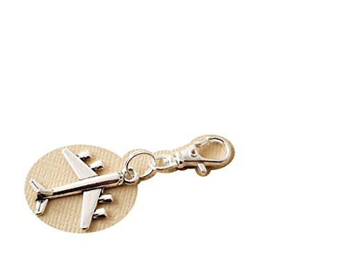 Aeroplane Zipper Charm, Small Zip Pull Charm, for Bag Purse Journal Back Pack Diary Keys, Small Bag Accessory