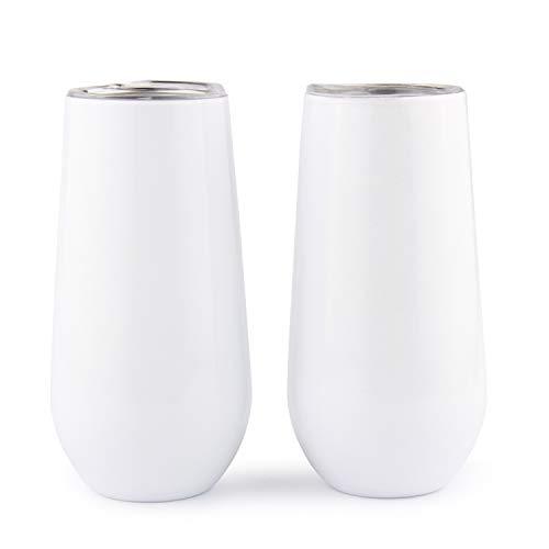 Sivaphe Vaso de champán Blanco Lot de 2 acero inoxidable Doble pared Copas de vino aisladas con tapa 180ml