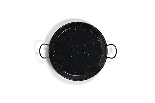 La Valenciana 10 cm, emaillierter Edelstahl Pfanne aus Spanien, Paella Schüssel, Hocker, schwarz, 15 cm