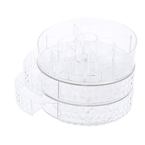 Fenteer Organiseur de Maquillage avec Tiroirs Support de Stockage Tournant à 360° Boîte de Rangement pour Cosmétiques Acrylique - Texture de diamant