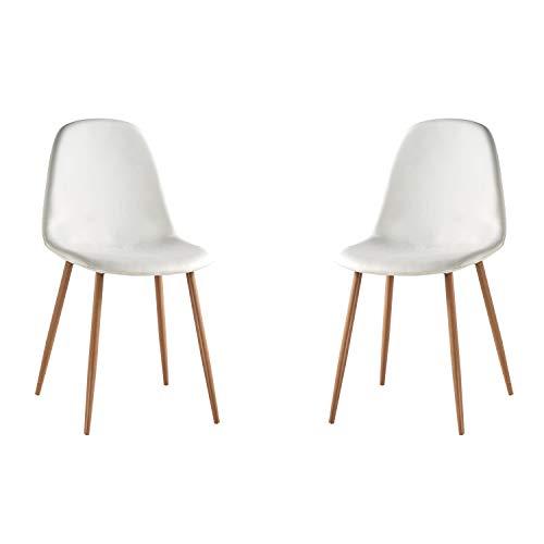 Adec - Craft, Pack de 2 sillas de Comedor, Silla Salon o Cocina, Acabado en Simil Piel Blanco y Patas Color Roble, Medidas: 45 cm (Ancho) x 45 cm (Fondo) x 87 cm (Alto)
