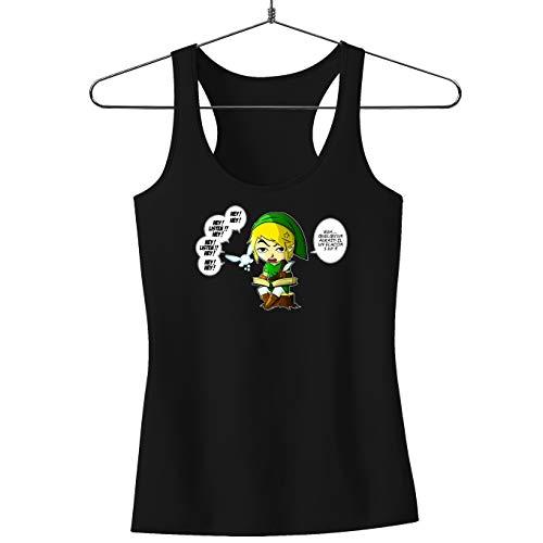 Okiwoki Débardeur Femme Noir Zelda parodique Link et la Fée Navi : Une fée Pratique mais agaçante. (Parodie Zelda)