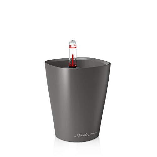 Lechuza 14949 MINI-DELTINI Tischgefäß, Hochwertiger Kunststoff, Herausnehmbarer Pflanzeinsatz, Für Innenraumbegrünung geeignet, anthrazit metallic