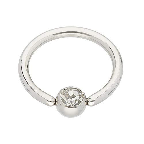 Treuheld® | Silbernes KLEMMKUGELRING Piercing mit Kristall - [01.] 1.2 x 8 mm (Kugel: 3mm) - klar/durchsichtig