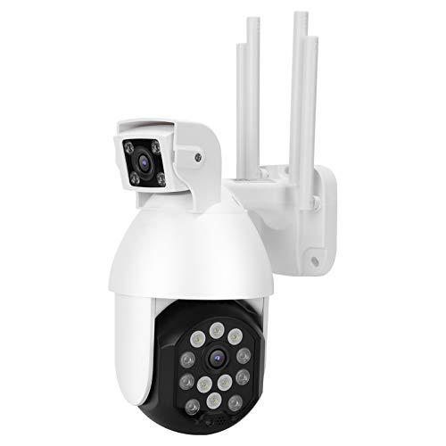 Pwshymi Alarma de luz y sonido de doble lente Cámara HD 1080P para seguridad en el hogar Soporte almacenamiento en la nube Soporta control remoto (regulación británica)