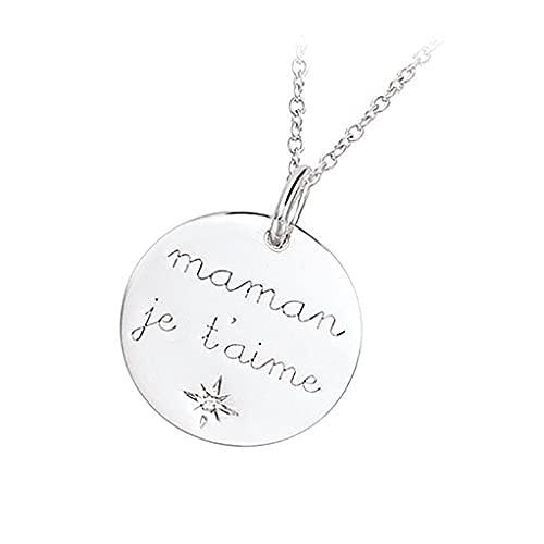 Tata Gisèle - Colgante de plata 925/000 y óxido de circonio – Maman Je t'aime – Grabado incluido – Bolsa de terciopelo de regalo