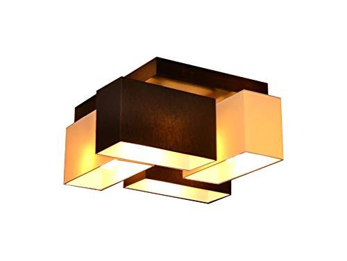 Deckenlampe Milano B4D Holz Deckenleuchte 4 flammig E14 Designer Lampe verschiedene Varianten (Creme-Braun)
