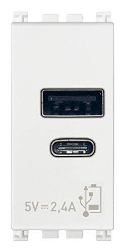Vimar 19292.AC.B Arké USB-Steckdose 5 V 2,4 A, 1 USB-Ausgang Typ A und 1 Typ C, insgesamt 2,4 A zum gleichzeitigen Laden von zwei Geräten
