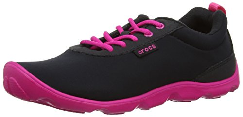 Crocs Duet Busy Day Lace-up Low-Top, Women's Trainers, Black (Black/Candy Pink), 5 UK