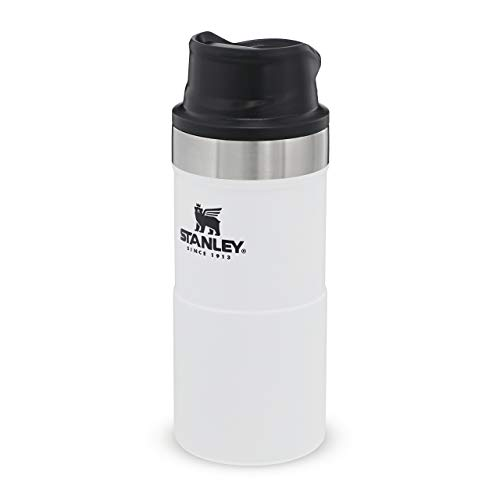 Stanley The Legendary Classic Vacuum Trigger-Action Travel Mug .35L Polar 18/8 Stainless Steel Double-Wall Vacuum Insulation Water Bottle Leakproof Dishwasher Safe Naturally Bpa-Free