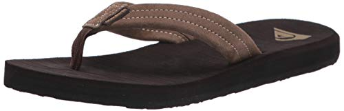 Quiksilver Men's Carver Suede 3 Point Flip Flop Athletic Sandal, Demitasse Solid, 10 M US