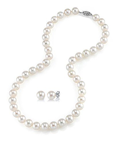 THE PEARL SOURCE 14K Gold AAAA Quality White Freshwater Cultured Pearl Necklace for Women in 24 Matinee Length 6065-FW-RS-24-WG-AO:89