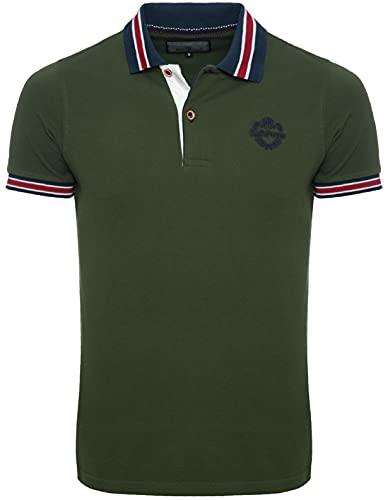 Karl's People Kurzarm Poloshirt für Herren XL, Khaki 100% Baumwolle by Carisma • Herren Polo Shirt mit Stickerei • Angenehmes Regular Fit Shirt für Büro und Freizeit