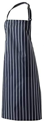 Harvey Williams Chefs Cooking Apron Professional Workwear Uniform for professional Waiters Chefs Cooks Butcher Restaurant BBQ Catering Baking Kitchen Unisex One Size Fits All Navy Stripe - Blue x 4