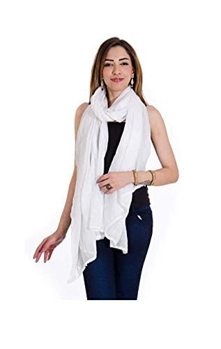 TEXCO Dupatta de algodón puro para mujer con encaje (59, blanco, tamaño libre) blanco india artesanía étnica Chunni/estola/bufanda