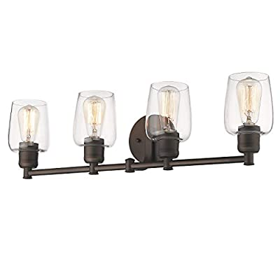Emliviar 4-Light Bathroom Vanity Light, Oil Rubbed Bronze Finish with Clear Glass Shade, 6005-4 ORB