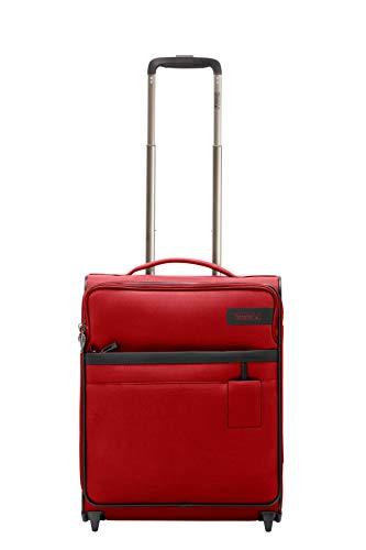 STRATIC Light Koffer weichschale Trolley Rollkoffer Reisekoffer Handgebäck TSA-Zahlenschloss, erweiterbar, extra leicht, inkl. Einkaufsbeutel, Größe S, red