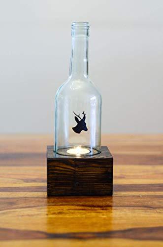 Windlicht aus alter Weinflasche mit einem Reh gift for him Kerze Teelichthalter Laterne Weinlicht Upcycling handmade