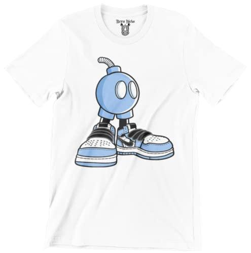 Jordan 1 University Blue Graphic Men's T-Shirt (Jordan 1 University Blue Sneaker Bomb White, Small)