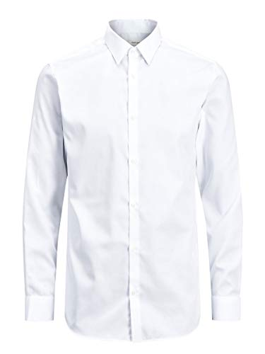 Jack & Jones Jprnon Iron Shirt L/s Noos Camisa, Blanco (White Fit:Slim Fit), X-Large para Hombre