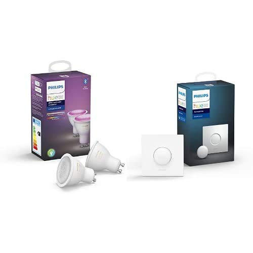 Philips Hue Pack de 2 Ampoules LED connectées White & Color Ambiance GU10, Compatible Bluetooth 9 W, Fonctionne avec Alexa + Smart Button bouton télécommande intelligent connecté