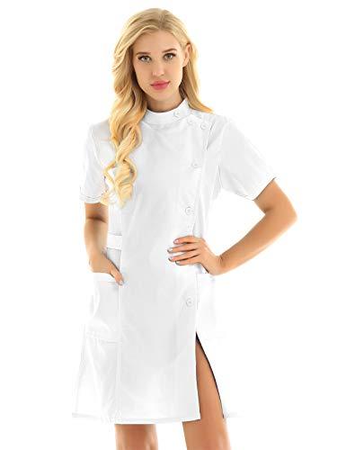 YiZYiF Damen Krankenschwester Kostüm Kleid Stehkragen Labor Ärztin Kittel Minikleid Nurse Cosplay Uniform Medizinische Berufsbekleidung Weiß Large
