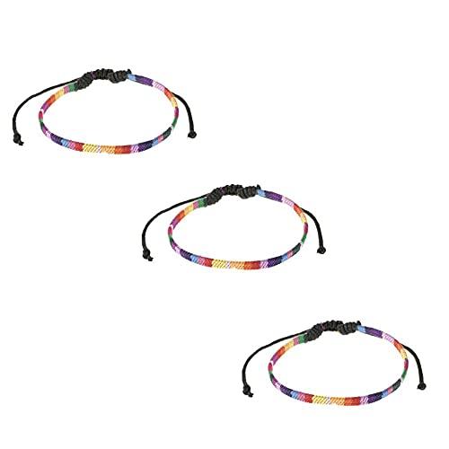 Pride ainbow Pulsera, Pulseras LGBT para Mujeres, Hombres, arcoíris, Orgullo, Pulsera, Bandera del Arco Iris , Pulsera, Tobillo, Accesorio, Brazalete de Cuerda Ajustable Hecho a Mano (3 Piezas